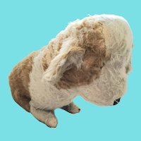 "Vintage 13"" Tall Gold & White Mohair Dog Stuffed Toy"
