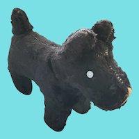 Cute Vintage Black Mohair Scottie Dog Stuffed Toy