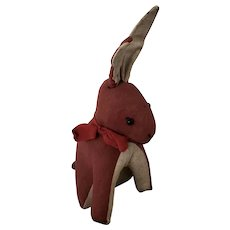 Antique Handmade Folk Art Cloth Rabbit Stuffed Toy