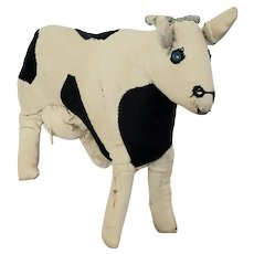 Funky Vintage Handmade Black & White Folk Art Cloth Cow Stuffed Toy