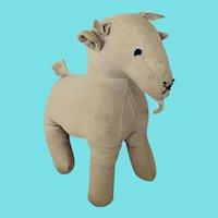 Funky Vintage Handmade Folk Art White Cloth Billy Goat Stuffed Toy