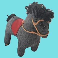 Vintage ca. 1960 PA. Folk Art Cloth Horse Stuffed Toy w/ Clothespin Legs