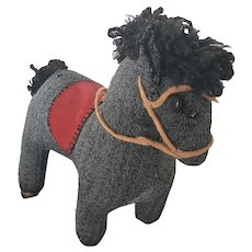 Vintage ca. 1960 PA. Folk Art Cloth Horse Stuffed Toy w/ Clothespin Legs