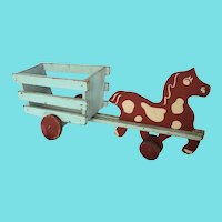 Vintage 1950's Naive Folk Art Horse & Wagon Pull Toy