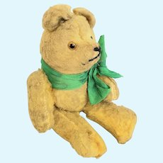 """Tiny 6"""" Vintage Golden Yellow Mohair German Jointed Teddy Bear"""