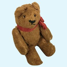 """Tiny 6"""" Vintage Golden Brown Mohair German Jointed Teddy Bear"""