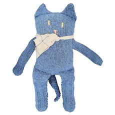 Cute Vintage New England Folk Art Blue Sock Kitty Cat