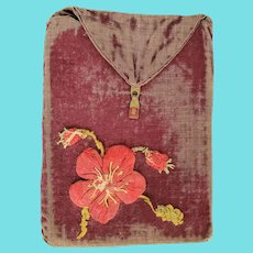 Antique Velvet Pocket Envelope with Floral Applique