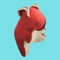 Vintage Red & White Wool Rabbit Stuffed Toy w/Homespun Ears from my Collection