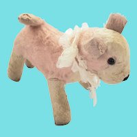 Adorable Vintage Pink & White Mohair Dog Stuffed Toy