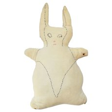 Naive Vintage Folk Art Rabbit Stuffed Toy