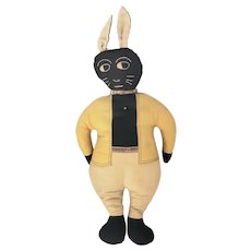 Vintage 1920's-30's Folk Art Black Rabbit in Suit Stuffed Toy from my Collection