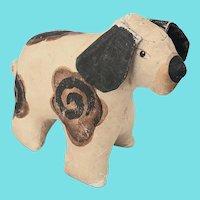 Vintage Folk Art Painted Canvas Dog Stuffed Toy