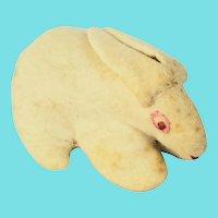 Diminutive Vintage Primitive Folk Art White Wool Felt Bunny Rabbit Toy Whimsy