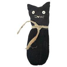 Vintage Primitive Folk Art Black Sock Kitty Cat