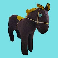 Vintage Southeast PA. Naive Folk Art Wall Eye Horse Stuffed Toy