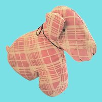 Vintage 1930's Folk Art Red & White Plaid Scotty Dog Stuffed Toy from my Collection