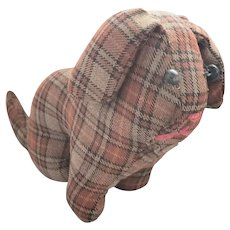 Vintage Lancaster Co. PA Mennonite Folk Art Plaid Dog Stuffed Toy from my Collection