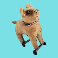 Antique Mohair Bulldog Pull Toy w/Jeweled Collar