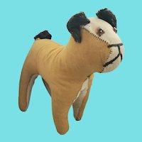 Vintage Naive Primitive Folk Art Gold &White Flannel Stuffed Dog