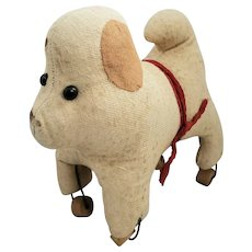Antique Naive Folk Art Cream & Brown Wool Straw Stuffed Dog on Wooden Wheels
