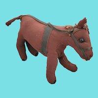 Antique 19th C. Naive Folk Art Rag Stuffed Bright Chestnut Horse Toy