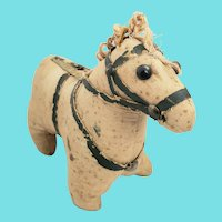 Antique 19th C. Super Primitive Homespun Horse Stuffed Toy #1