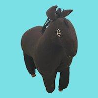 Vintage Amish Folk Art Black Wool Rag Stuffed Horse w/Clothespin Hooves
