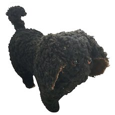 Antique Naive Folk Art Black Curly Haired Dog Stuffed Toy from my Collection