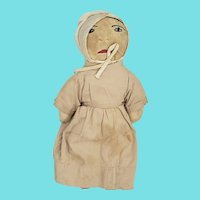 Antique ca. 1900 Well Loved Primitive Folk Art Female Amish Doll #1