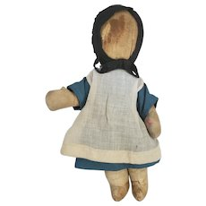 Antique ca. 1900 Well Loved Primitive Folk Art Female Amish Doll #2
