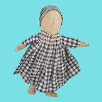 Antique Primitive Folk Art Pencil Face Doll in Homespun Dress & Bonnet