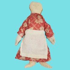 Antique Primitive Folk Art Pencil Face Doll in Red Print Dress