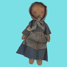 Vintage Primitive Folk art Rag Doll w/Painted Face & Hair