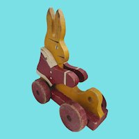 Vintage Folk Art Red & Yellow Rabbit Pull-Toy