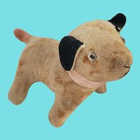 Vintage White Velveteen Dog Stuffed toy w/Black Ears & Pink Tail