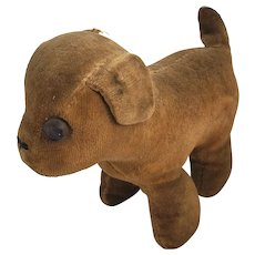 Antique Brown Velveteen One-Eyed Dog Stuffed Toy
