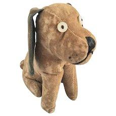Cute Vintage Tan & Black Velveteen Floppy Eared Dog Stuffed Toy
