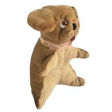 Diminutive Vintage Tan Velveteen & Linen Floppy Eared Dog Stuffed Toy