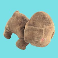 Tiny Well Loved Antique Tan Velveteen Dog Stuffed Toy