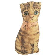 "Diminutive 7"" Vintage Litho Print Cat Stuffed Toy"