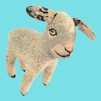 Diminutive Vintage Painted Wool Flannel Lamb Stuffed Toy