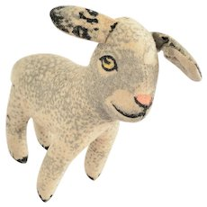 Diminutive Vintage Painted Wool Flannel Lamb Stuffed Toy
