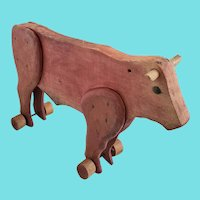 Vintage Primitive Folk Art Red Painted Cow Pull Toy