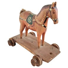 Vintage Fancifully Painted Wooden Horse Pull Toy from my Collection