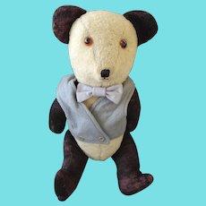 "Large 22"" Vintage 1930's English Jointed Mohair Gentleman Growler Panda Teddy Bear"