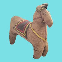 Well Loved 19th C. Primitive Folk Art Straw Filled Horse Stuffed Toy