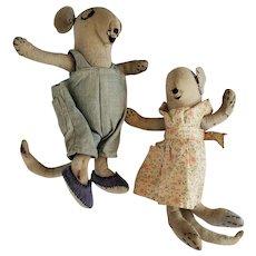 Cute Pair Vintage Folk Art Boy and Girl Mice