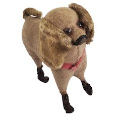 Antique Late 19th Early 20th C. All Original Tan & Brown Straw Stuffed Dog