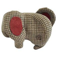 Vintage 1930's Amish Mennonite PA. Folk Art Gray & Cream Houndstooth Elephant Stuffed Toy